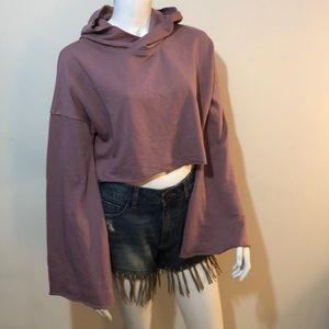 Misguided bell sleeve cropped hooded sweatshirt